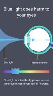 Filtro de luz azul: modo nocturno, captura de pantalla del turno de noche