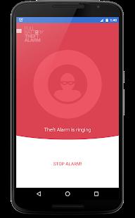 Captura de pantalla de alarma de robo y batería llena