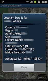 Captura de pantalla de IP info Detective Pro
