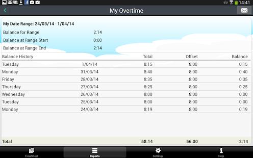 My Overtime - Captura de pantalla de seguimiento de tiempo y asistencia
