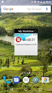 Mi tiempo de trabajo: captura de pantalla del parte de horas