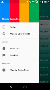 Captura de pantalla en color de Material Design