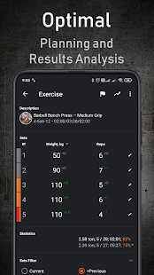 GymUp PRO - captura de pantalla del cuaderno de ejercicios