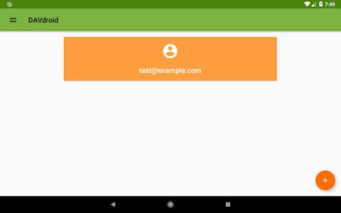 DAVx⁵ - Captura de pantalla del cliente CalDAV / CardDAV