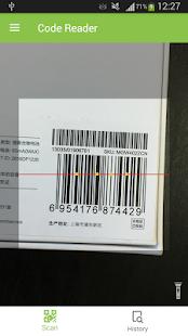 Captura de pantalla del escáner de código QR