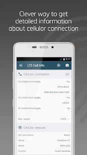 Información de celda LTE: analizador de red, captura de pantalla de conexión WiFi