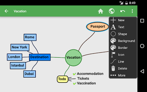 Captura de pantalla del mapa mental de SchematicMind Free