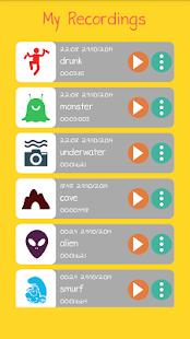Captura de pantalla del cambiador de voz