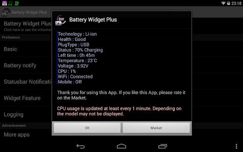 Captura de pantalla de Battery Widget Plus
