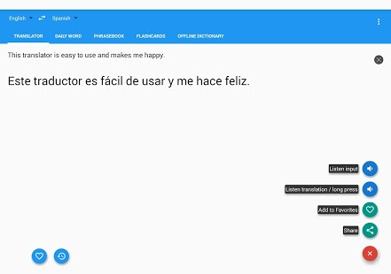 Captura de pantalla del traductor español inglés