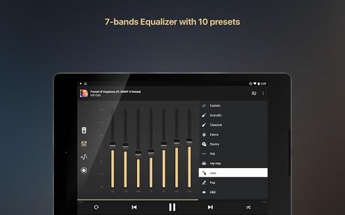 Captura de pantalla del amplificador del reproductor de música del ecualizador