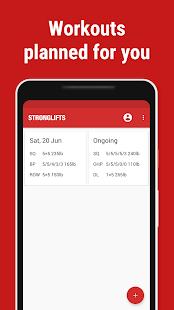 Stronglifts 5x5 - Captura de pantalla del registro de levantamiento de pesas y entrenamiento en el gimnasio
