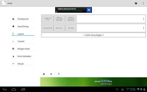 Texto minimalista: captura de pantalla de los widgets