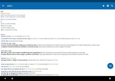 Captura de pantalla del Oxford Spanish Dictionary