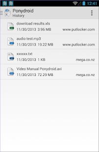 Captura de pantalla del administrador de descargas de Ponydroid