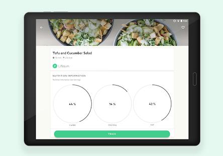 Lifesum - Captura de pantalla del plan de dieta, macro calculadora y diario de alimentos