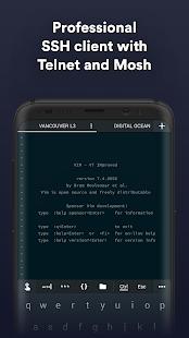 Termius - Captura de pantalla del cliente SSH / SFTP y Telnet