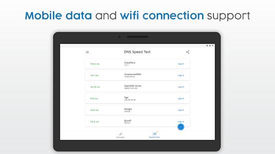 Cambiador de DNS |  Datos móviles y WiFi |  Captura de pantalla de IPv4 e IPv6