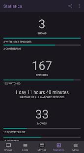 SeriesGuide - Captura de pantalla del Administrador de programas y películas