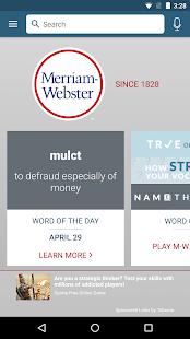 Diccionario - Captura de pantalla de Merriam-Webster