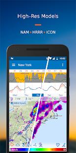 Flowx: captura de pantalla del pronóstico del mapa del tiempo