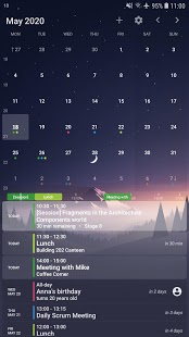 Captura de pantalla del widget de calendario