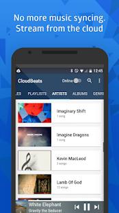 CloudBeats: captura de pantalla del reproductor de música en la nube y sin conexión
