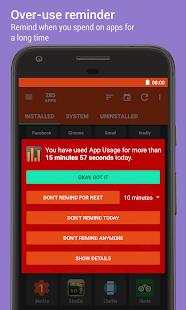 Uso de la aplicación: captura de pantalla de administración / seguimiento del uso