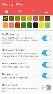 sFilter - Captura de pantalla del filtro de luz azul
