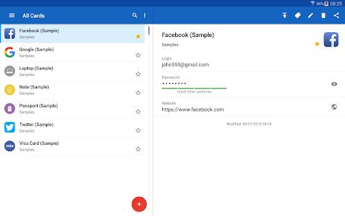 Captura de pantalla de Password Manager SafeInCloud Pro