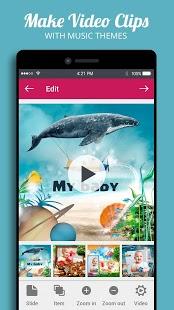 Collage + picmix, presentación de diapositivas con música, captura de pantalla del creador de álbumes