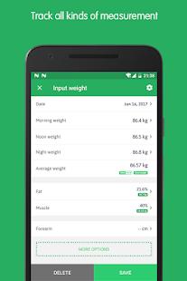 Asistente de seguimiento de peso: captura de pantalla del rastreador de peso gratuito
