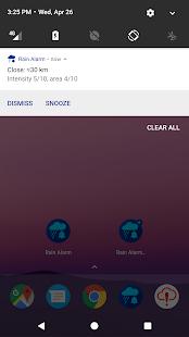 Rain Alarm Pro - Captura de pantalla de todas las funciones (una sola vez)