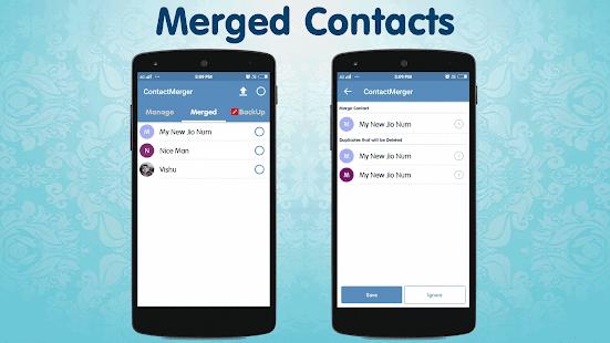 Captura de pantalla de fusión de contactos duplicados