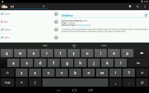 Captura de pantalla de nombres y significados