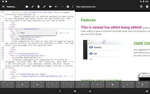 Captura de pantalla de Quoda Code Editor