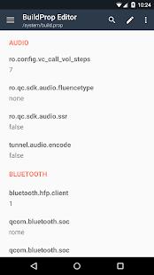 Captura de pantalla del editor BuildProp
