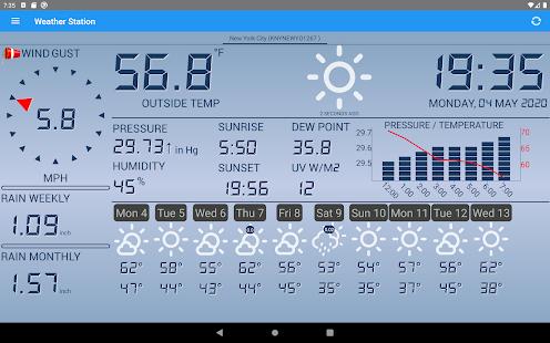 Captura de pantalla de la estación meteorológica