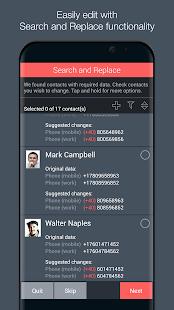 Captura de pantalla del Optimizador de contactos