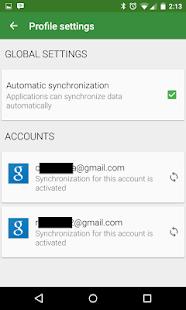 Captura de pantalla del generador de perfiles de sincronización de cuentas