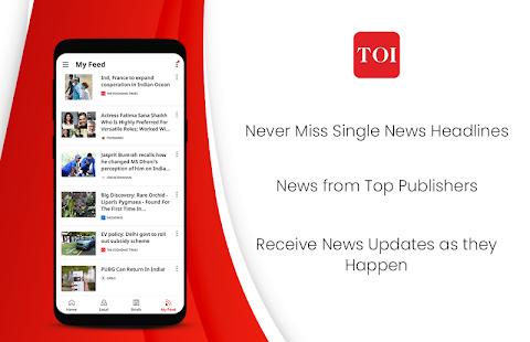 Noticias del periódico The Times of India: captura de pantalla de las últimas noticias