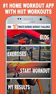 Entrenamiento ardiente de 10 minutos: captura de pantalla de entrenamientos de cuerpo completo