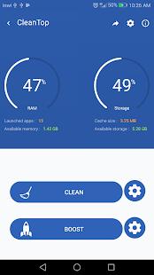 Cleantoo - Captura de pantalla del limpiador de RAM y limpiador de caché