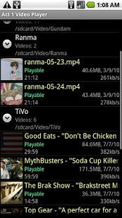 Captura de pantalla del reproductor de video Act 1