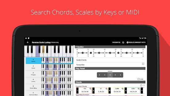 Acordes de piano, escalas, captura de pantalla de Progression Companion PRO